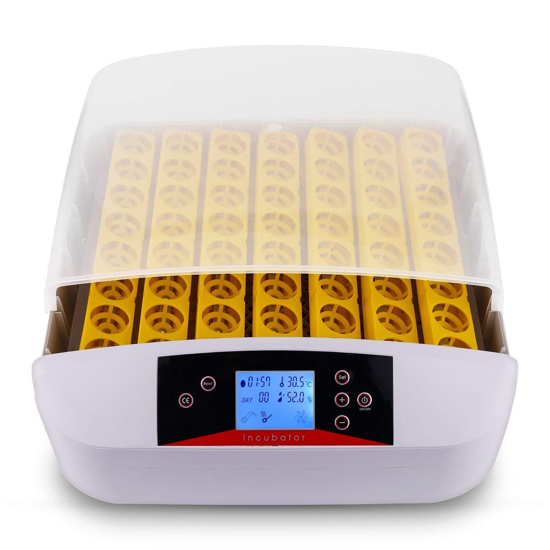 Incubadora Automática de Huevos 56 Huevos, Incubadora Digital Inteligente de con Pantalla de Temperatura y Humedad, Control de Temperatura y Rotación Automática de Huevos