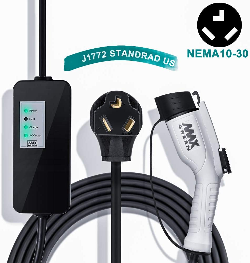 MAX GREEN Level 2 EV Charger, Electric Vehicle Charger (16A,240V 25FT) with NEMA10-30 Plug, Fast EV Home Charging Station, Compatible with Chevy Volt, Prius Prime, Fusion Energi