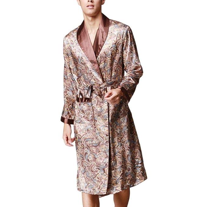 Hombre Kimono Primavera Otoño Satín Pijama Joven Casual Impreso Batas Manga Larga V-Cuello con Cinturón Camisones Pijamas Mujer Women: Amazon.es: Ropa y ...