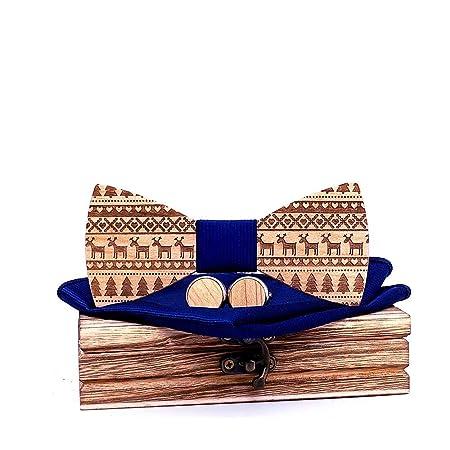 Necktie [¡Deseo! Corbata de lazo linda de Elk de madera] Gemelos ...