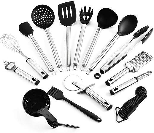 Juego de utensilios de cocina, silicona de acero inoxidable, sartén antiadherente, sartén, pala, colador de sopa, utensilios de cocina de pesca frontal, juego de 15: Amazon.es: Hogar