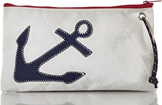 product image for Sea Bags Recycled Sail Cloth Navy Anchor Wristlet Large