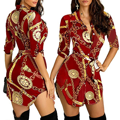 Women's Helios Stripe T-Shirt Dress - Button Down Long Sleeve Collar Loose Blouse Tops Mini Dress Red-2-White XXL