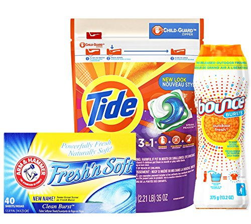 Tide Downy Laundry Bundle Pack, TIDE Pods 3 in 1 Liquid Laundry Detergent Stain Remover Color Protection + BOUNCE In-Wash Scent Booster Odor Defense + Fresh
