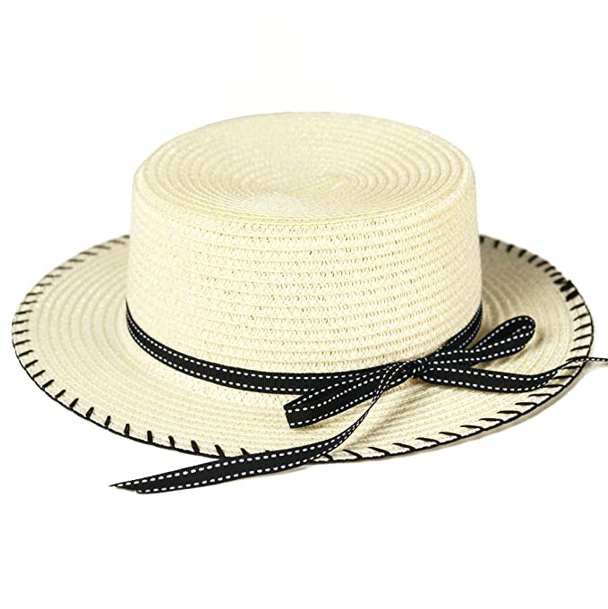 bde6bfe96bf6d Amazon.com  accsa Toddler Kids Girl Straw Panama Fedora Brim Sun Hat Summer  Beach UPF Protection with Bow Age 5-8Y Beige  Clothing
