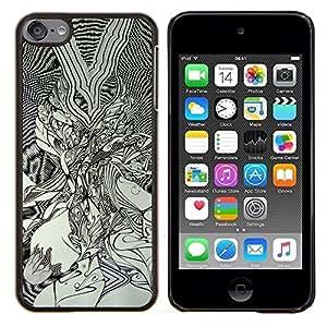 """Planetar® ( Pintura Gráfico Negro Arte Dibujo blanco"""" ) iPod Touch 6 Fundas Cover Cubre Hard Case Cover"""
