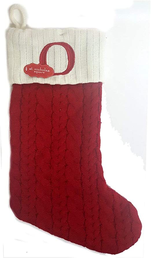 Nicholas Square 21 Inch Cable Knit Monogram Christmas Stocking Embroidered C St