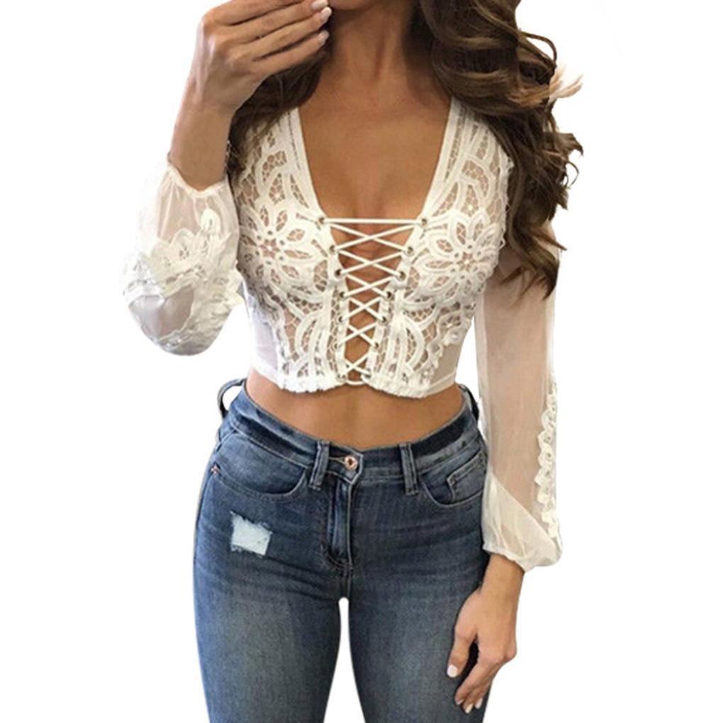 ❤️ Femmes Chemisier Transparent à Manches Longues en Dentelle Transparente Crop Tops T-Shirt Amlaiworld (XL, Blanc)