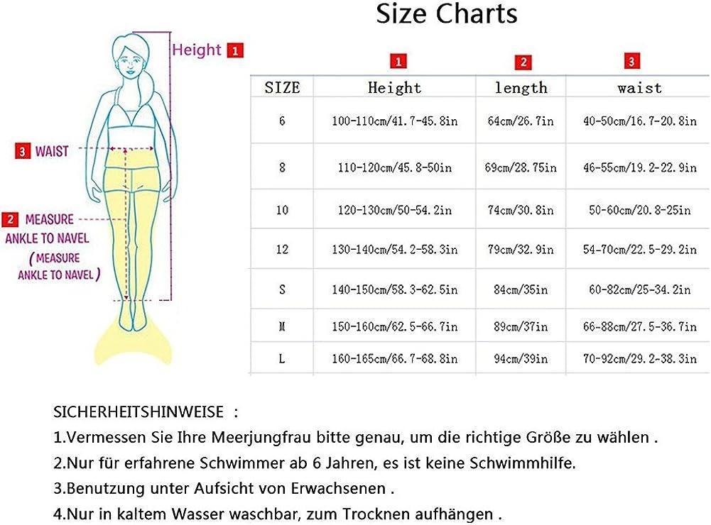 M/ädchentraum Likeep Meerjungfrauenschwanz Ⅱ Zum Schwimmen mit Verbesserten Flosse und Sch/önere Mermaidens Meerjungfrauenschwanz