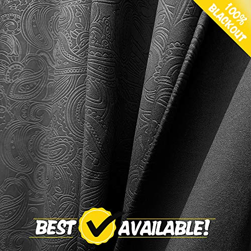 ECODECOR Paisley Full Blackout Window Curtains Bedroom 84 Inch Long Triple Weave Embossed Textured Curtain and Draperies for Hotel & Living Room 1 Pair, Black