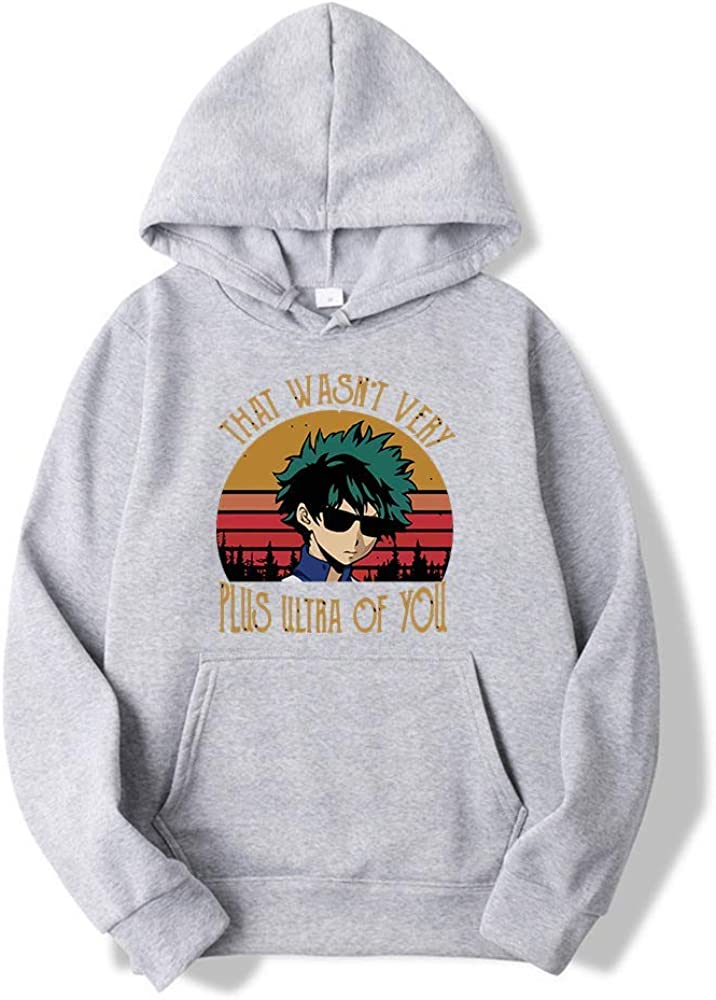 LALLing Felpa con Cappuccio da Uomo Pullover My Hero Academia Stampa Felpa a Maniche Lunghe Maglioni Top Sweatshirt Casual con Tasca Kanga