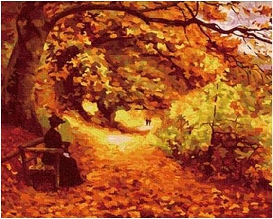 PAINTYTY Feuilles d'automne Peinture De Bricolage par Chiffres Abstrait  Chaise De Parc Peinture À l'huile sur Toile Femme Cuadros Decoracion  Acrylique Mur Art: Amazon.fr: Cuisine & Maison