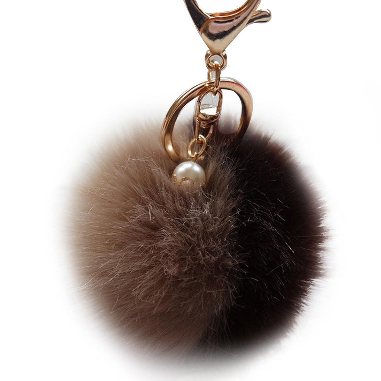 Besting Women Men Keychain Rabbit Fur Ball Keychain Bag Plush Car Key Ring Car Key Pendant Top Chaveiro Feminino #089^9