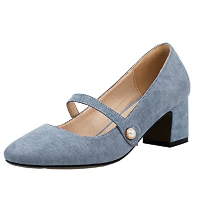 AIYOUMEI Damen Geschlossen Chunky Heel Pumps mit 6cm Absatz Blockabsatz Bequem Sommer Schuhe
