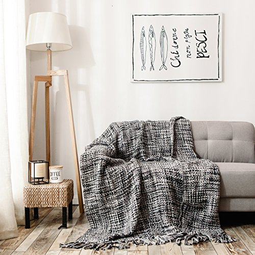 HollyHOME Throw Blanket Chic Boho 60x70 Inch Luxury Soft Microfiber All Season Blanket with Tassels, Ideal for Bed or Couch, Black