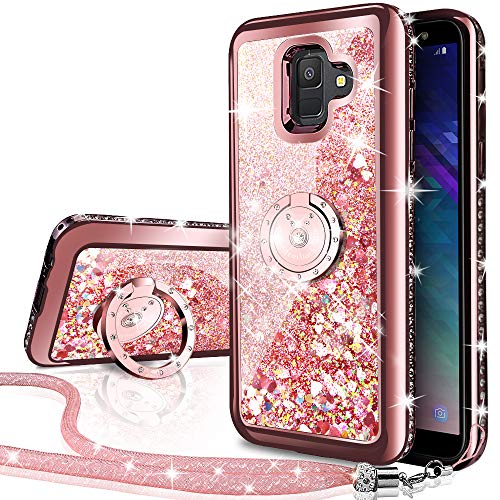 (Galaxy A6 2018 Case, Silverback Moving Liquid Holographic Sparkle Glitter Case with Kickstand, Bling Diamond Rhinestone Bumper Slim Protective Samsung Galaxy A6 2018 Case for Girls Women -Rose Gold)