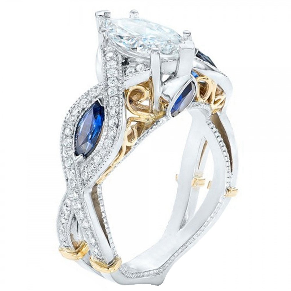 FENDINA Women's Infinity Rings Vintage Pear Cut CZ Twisting Cross Shank Bridal Engagement Wedding Halo Promise Eternity Rings (gold-plated-base-blue, 9)