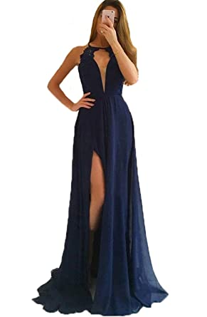 Dresshine Womens Jewel Neck Lace Top Slit Navy Blue Chiffon Prom Dress
