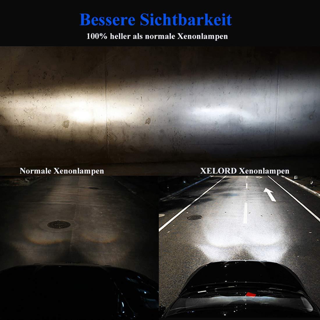 2 St/ück XELORD Xenon D3S 35W HID Scheinwerferlampe 12V Xenon Brenner Autolampe k/önnen Halogenlampe