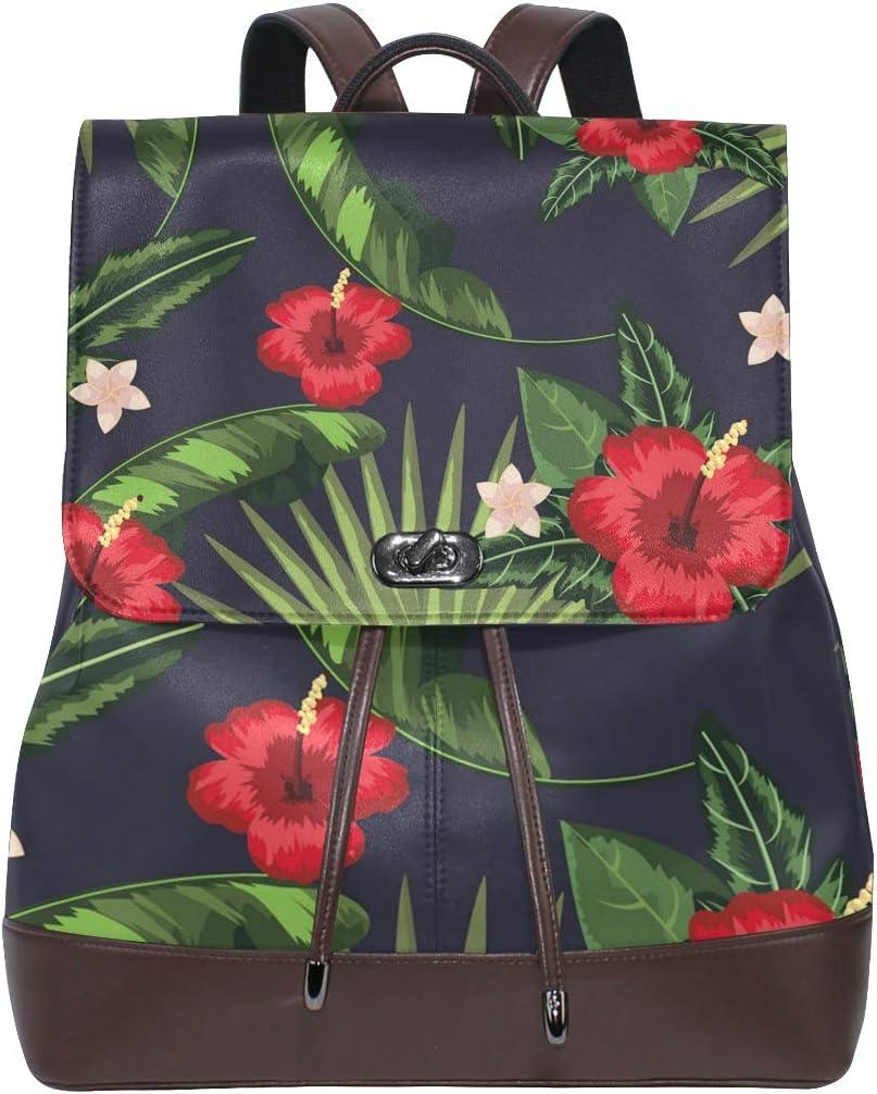 Fashion Shoulder Bag Rucksack PU Leather Women Girls Ladies Backpack Travel Bag Flowers Fun Express Tropical Leaves