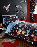 Single Duvet set & Curtains - Navy Blue Outer Space Planets & Rockets (Single Set (no curtains))