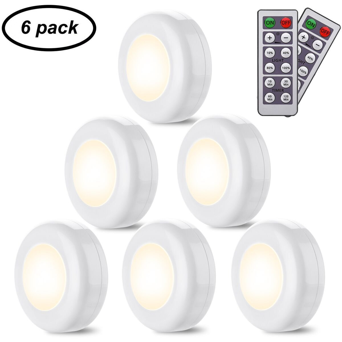 Closet Lights Elfeland Wireless LED Puck Lights with Remote Control LED Under Cabinet Lighting Dimmable Battery Powered Under Counter Lights for Kitchen Hallway Bedroom Stair (Warm White,6 Pack)