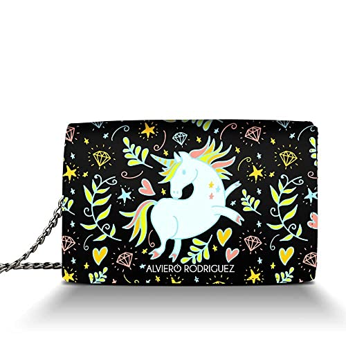c37a513389 Alviero Rodriguez Borsa Donna Unicorno Magic Diamanti Cuori in Vera Pelle  (Catena Argento): Amazon.it: Scarpe e borse
