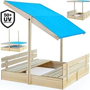 Deuba Arenero infantíl con Bancos y Techo Azul Integrados Juego de 120 x 120 cm para niños Madera jardín Exterior: Amazon.es: Juguetes y juegos
