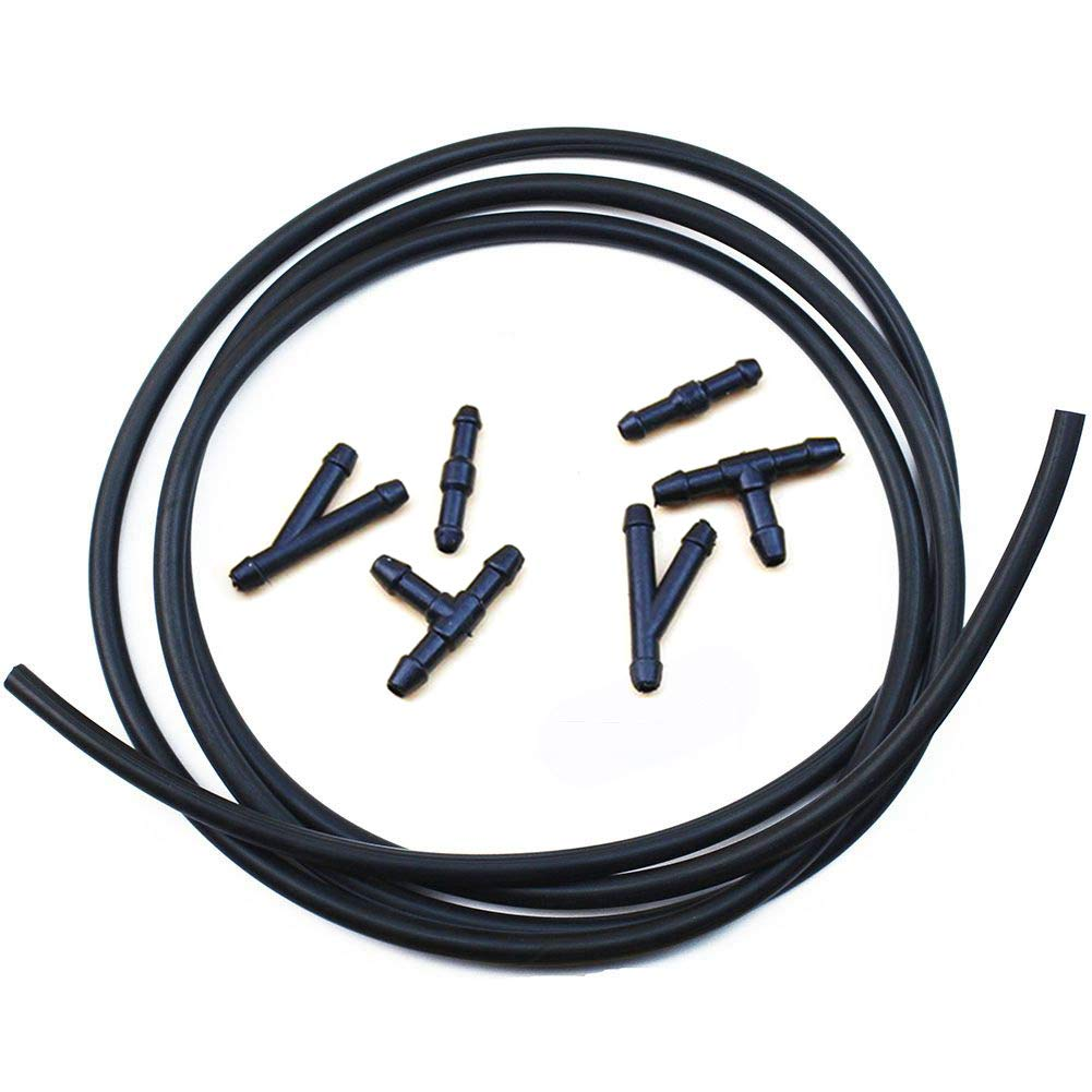 Universal Windshield Washer Nozzle Fluid Hose Kit 2.5 Meters with 6 Pcs Hose Connectors Suitable for Most of Car Washer Fluid Tubing
