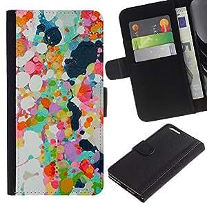 EJOY---La carpeta del tirón la caja de cuero de alta calidad de la PU Caso protector / Apple Iphone 6 PLUS 5.5 / --Pintura al óleo abstracta Spots primavera colorido