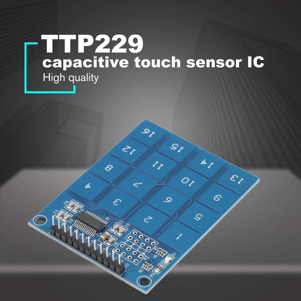 TTP229 M/ódulo Sensor t/áctil t/áctil de 16 Canales Digitales para Arduino Azul