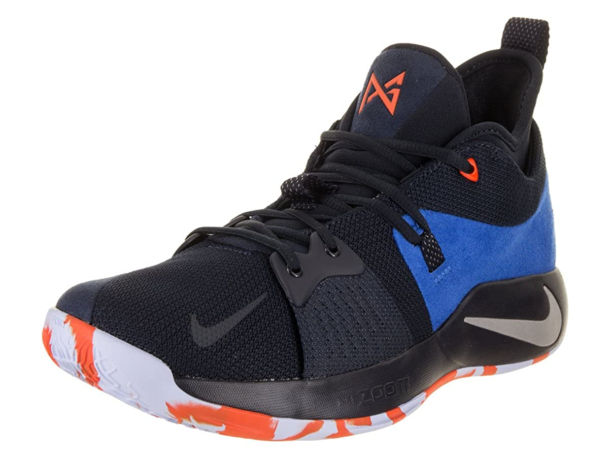 newest 9a33a fad2e NIKE Men's PG 2 Basketball Shoes (9.5, Black Blue -M)
