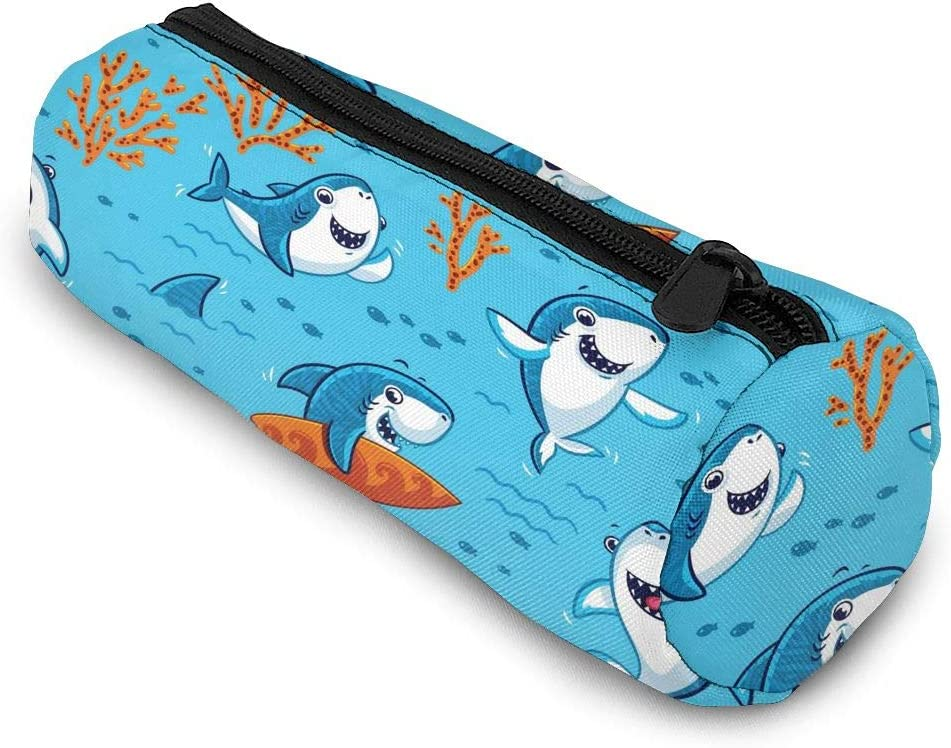 Cute Cartoon Shark Pencil Case Bag Storage Pouch Simple Stationery Bag Holder for Middle High School Office College Student