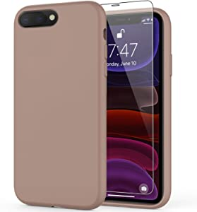 DEENAKIN iPhone 8 Plus Case,iPhone 7 Plus Case with Screen Protector,Soft Liquid Silicone Gel Rubber Bumper Cover,Slim Fit Shockproof Protective Phone Case for iPhone 7 Plus/iPhone 8 Plus Light Brown