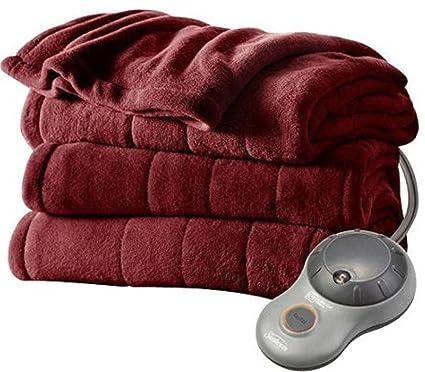 Sunbeam manta eléctrica – Imperial peluche climatizada manta eléctrica Ultra suave, color doble