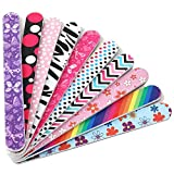 Professional Acrylic Nail File and Buffers for Women Girls, Natural Emery Board Set Bulk, 150/150 Grit Colorful, 10 PCS