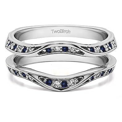a15fa78e7ee8f Amazon.com: TwoBirch 0.44 Ct. Contour Ring Guard Enhancer Wedding ...