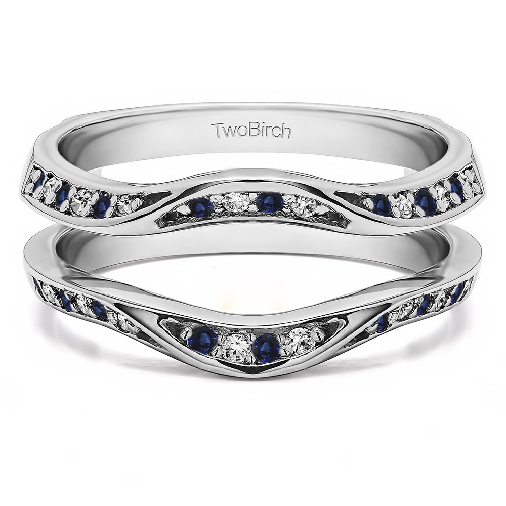 Fancy Classic Style Contour Ring Guard Enhancer Wedding Band with 0.44 cts of Diamonds and Sapphire in Silver by TwoBirch (Image #7)