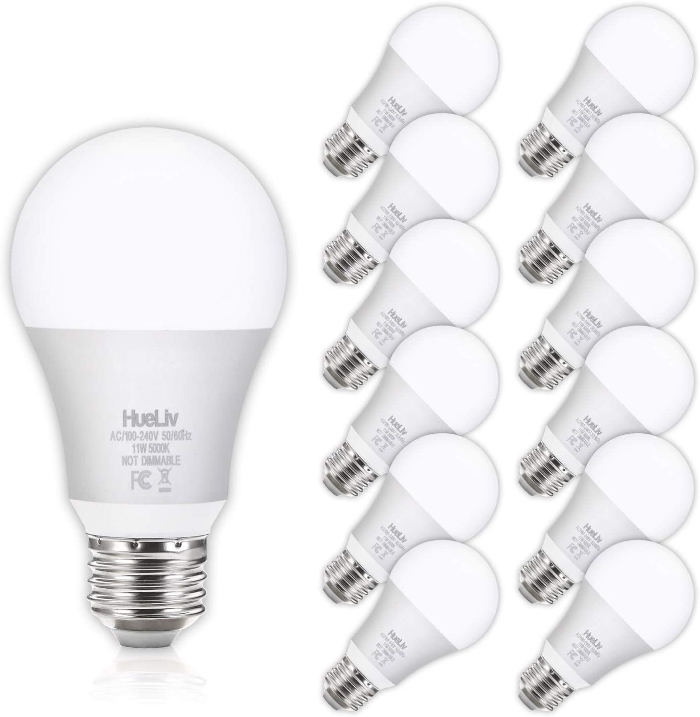 12pack A19 Led Light Bulbs 100 Watt Equivalent 5000k Daylight White No Flicker E26 Medium Screw Base Bulbs 1100lumens Non Dimmable Amazon Com