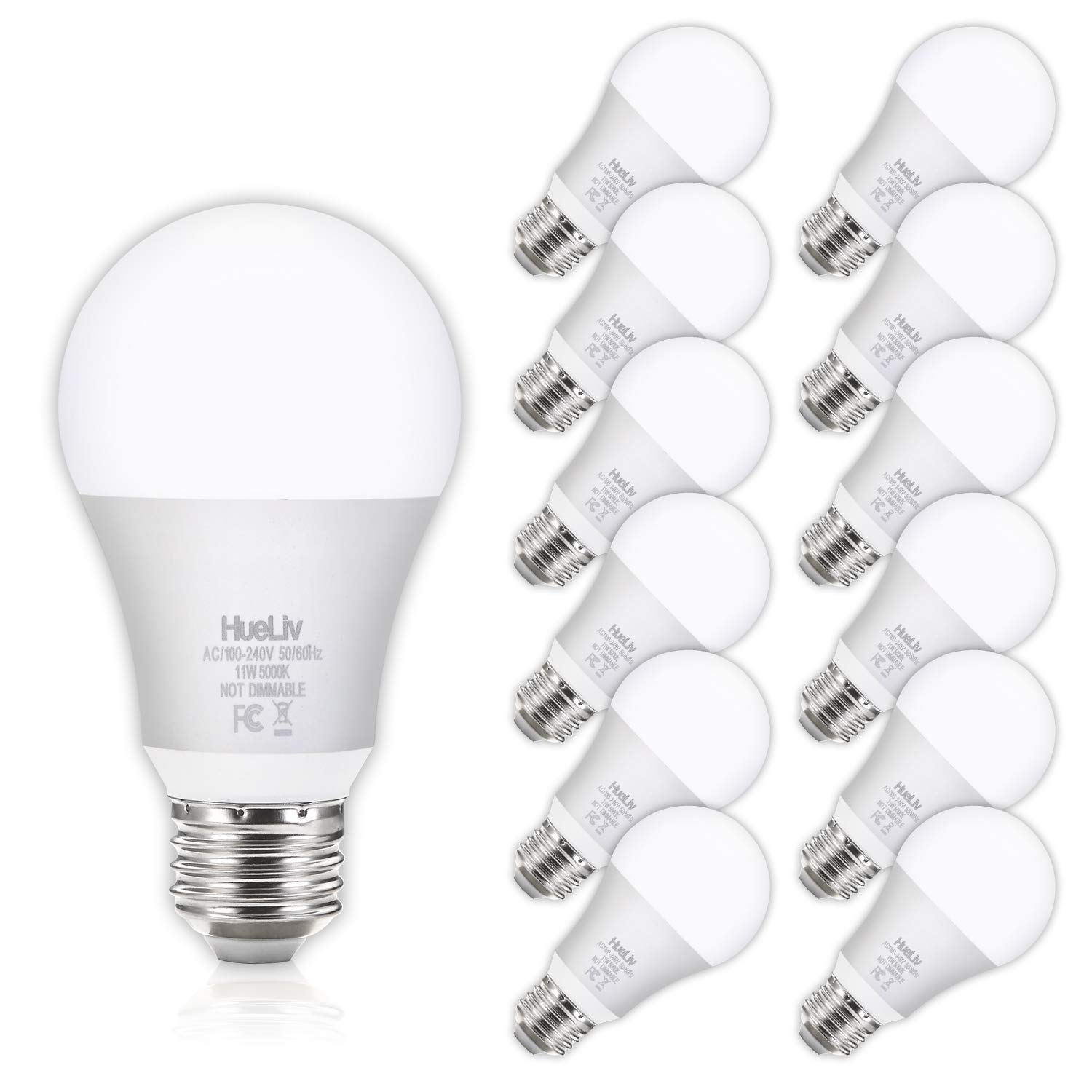 HueLiv A19 LED Light Bulbs 100 Watt Equivalent 5000K Daylight White, No Flicker E26 Medium Screw Base Bulbs, 1100Lumens, Non Dimmable, 12Pack