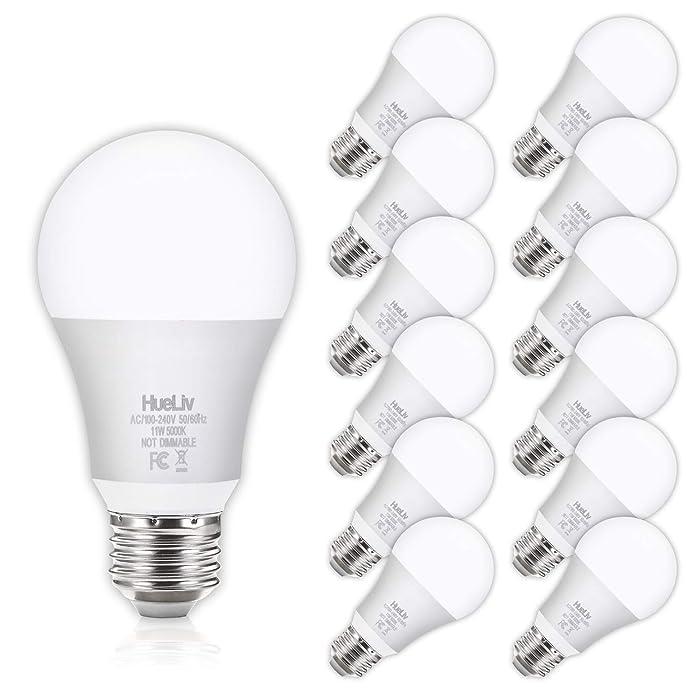 HueLiv A19 LED Light Bulbs 100 Watt Equivalent 5000K Daylight White, No Flicker E26 Medium Screw Base Bulbs, 1100Lumens, Non Dimmable, 12Pack
