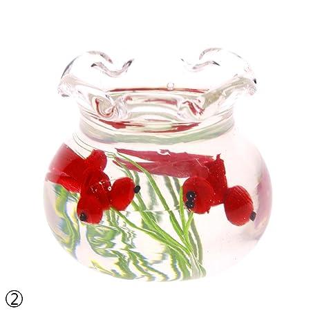 rungao 1/12 casa de muñecas en miniatura cristal peces tanque transparente acuario adornos: Amazon.es: Hogar