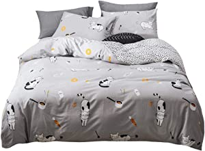 BuLuTu Full/Queen Duvet Cover Set Grey/White Cotton Black White Cats Donuts Carrot Fish Milk Food/Dots Print Pattern,3 Pieces Gray Queen Bedding Sets for Kids Boys Girls Men Women,No Comforter