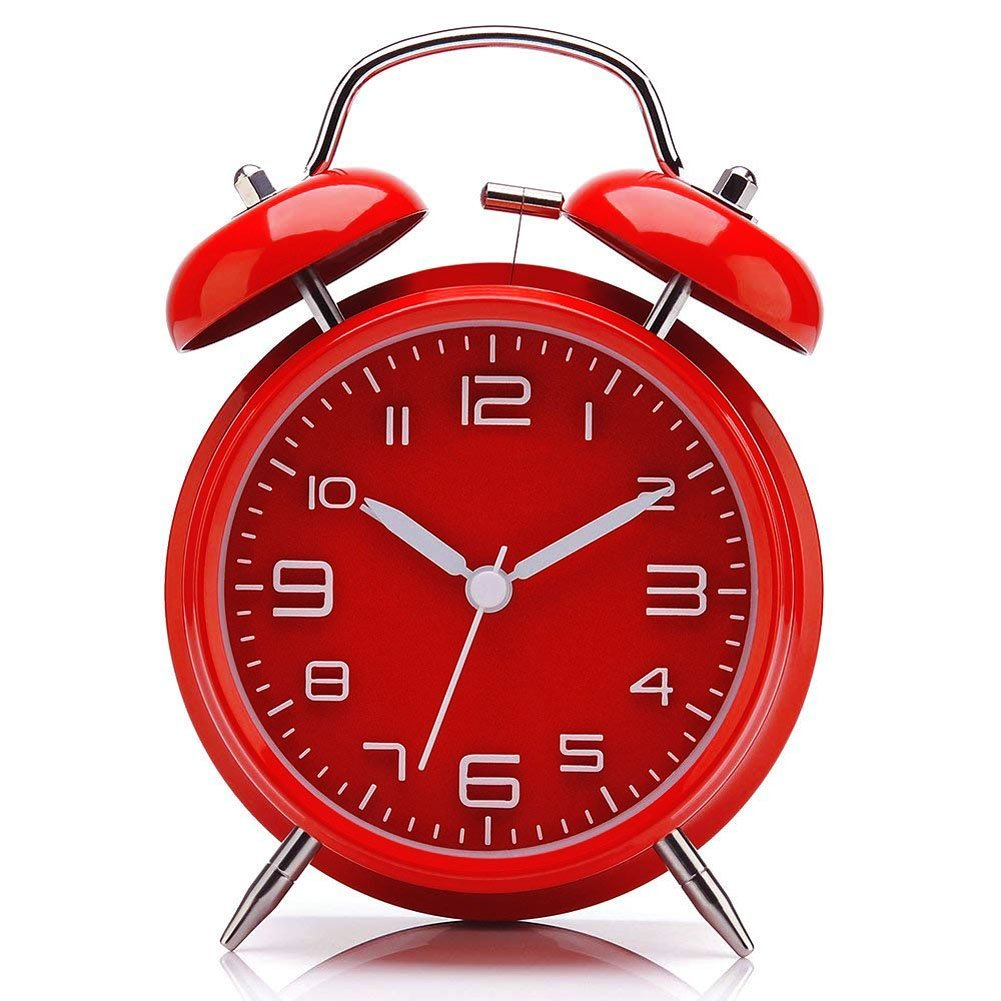 INIL Ultra-Quiet with Four-inch Double Bell Alarm Clock, Lazy Clock,Three-Dimensional dial. Backlight (red)