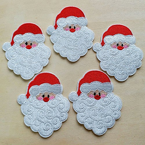 (10pcs X'mas Santa Claus Head Christmas Iron On Sew On Cloth Embroidered Patches Appliques Machine Embroidery Needlecraft Sewing Projects)