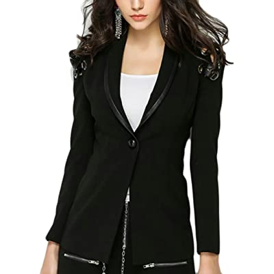 ainr Women Classic Long Sleeve One Button OL Suit Blazers