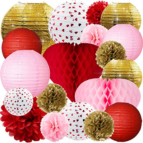 NICROLANDEE Engagement Party Decorations - Red Pink and Glitter Gold Paper Lanterns 3D Love Heart Honeycomb Ball Tissue Pom Poms for Wedding Bridal Shower Mother Birthday Decor -