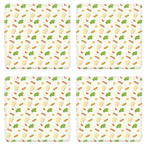 MSD Square Coasters IMAGE 30048943 Breakfast food pattern background wallpaper