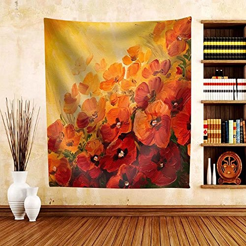 Gzhihine Custom tapestry Oil Painting - abstract illustration of poppies on a red-yellow background wallpaper - Fabric Tapestry Home Decor inches