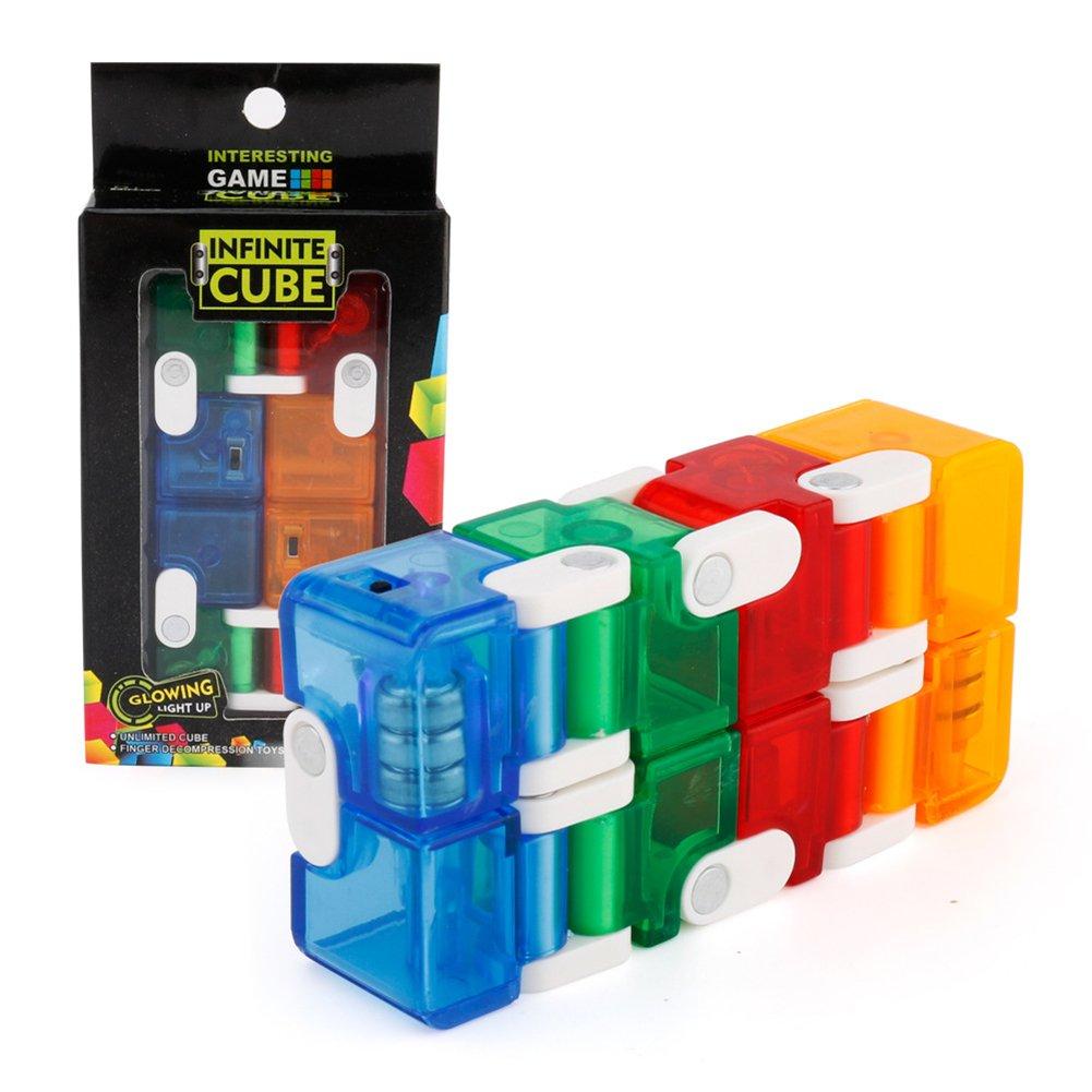 LanLan Jouets Réveils éducatifs Créatif Cube Pliant LED Rougeoyant Changement Infini Cube Jouet pour l'Autisme et TDAH Soulagement Anxiété Stress Cadeau